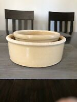 TWO (2) Vtg Roseville Pottery Heavy Dog Bowls  R.R.P.Co USA