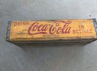 Vtg Wooden Yellow Wood Coca-Cola Coke  Crate 24 Pack Glass Bottles Chattanooga
