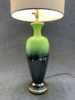 Mid Century Modern Haeger Style Pottery Green Iridescent Drip Glaze Table Lamp