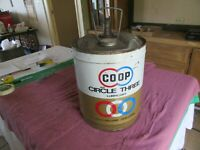 Solid Condition CO-OP Circle Three 5 Gallon Oil Can Only 1 On Ebay Lot 19-48-30