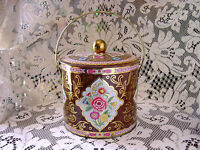ViNTaGe PiNK BLuE FLoRaL ORNATE GoLD Metal Tin Biscuit Cookie Candy Box Canister