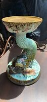 Antique  13Inch Tall Majolica Jardiniere Plant Stand Pedestal Dolphin Fish