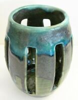 """VTG Unusual Green Blue Drip 6"""" Tall Candle Holder Pisgah Forest Pottery C.1980"""