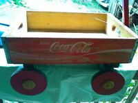 Old Coca-Cola Wooden Red Soda Pop wooden w agon carrier Box case wood coke