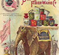 Mankato MN 1800's Spittoon Circus Elephant Fiber-Ware Hand Painted Pail Jar Card