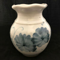 Vintage Wheel Turned Pottery White and Blue Scalloped Vase Signed Stoneware