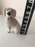 Antique ? Staffordshire ? POODLE WHITE DOG FIGURINE England CONFETTI Imperfect!!
