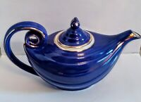Vntg Hall Pottery 6 Cup Cobalt Blue Gold Art Deco Teapot With Infuser Stunning