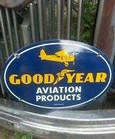 1939 GOODYEAR AVIATION TIRES PORCELAIN SIGN VINTAGE GAS