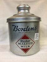 VINTAGE BORDEN'S MALTED MILK CONTAINER ~ HEAVY ALUMINUM WITH BOLD GRAPHIC