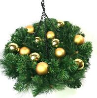 Bethlehem Lights Mixed Greenery With Ornaments Hanging Basket QVC H209755