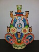 Vintage Mexican Folk Art - Tree of Life - Candle Holder - Owls Flowers Pottery