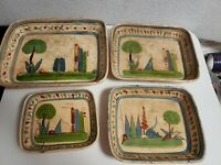 Vintage Hand Crafted Mexican Tlaquepaque Tourist Pottery Nesting Dishes Set of 4