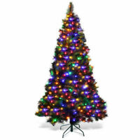 7Ft Pre-Lit PVC Artificial Christmas Tree Hinged with LED Lights