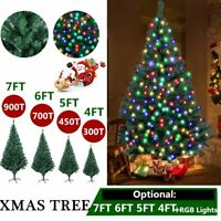 4FT 5FT 6FT 7FT Bushy Christmas Tree LED Xmas Home W/Stand Indoor Outdoor Decor