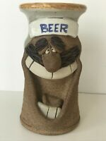 Hand Thrown POTTERY BEER MUG STEIN Signed Mark HINES Unusual Unique Crazy Face