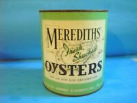 OLD MEREDITHS' OYSTER 1 GALLON TIN CAN