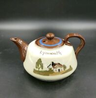 Antique Brown & Cream Torquay Pottery Motto Ware Cottage Lynmouth Teapot   39