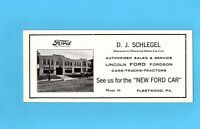 Early Ford Lincoln Fordson Dealer Ink Blotter Fleetwood Pa. Cars Trucks Tractors