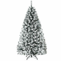 6ft Premium Snow Flocked Hinged Artificial Christmas Tree Unlit w/ 600 Tips