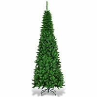 6.5ft Pre-Lit Hinged Artificial Pencil Christmas Tree w/ Warm White Lights Décor
