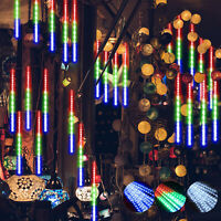 Solar LED Meteor Shower Lights Falling Rain Icicle Outdoor Christmas Tree Decor