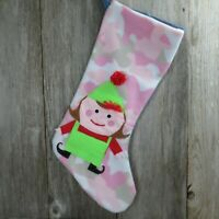 Handmade Pink Camo Fleece Denim Jeans Santa's Elf Christmas Stocking Jumbo 27
