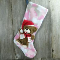 Pink Camo Teddy Bear With Red Hat Scarf Christmas Stocking Jumbo Plush Stuffed