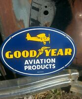 1939 GOODYEAR AVIATION TIRES PORCELAIN SIGN VINTAGE GAS PUMP PLATE AIRPLANE