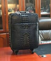 Leather Luggage Bag Genuine Crocodile Skin Travel Suitecase 22 inch Black