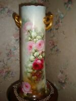 ANTIQUE BAVARIA HAND PAINTED VASE, ROSES & GOLD, VERY LARGE 16 3/4
