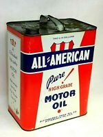 Vintage ALL AMERICAN Pure Motor Oil 2 Gallon Metal Can Gas Sign PITTSBURGH PA