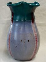STUDIO ART POTTERY VASE SCALLOP TOP PINCHED ARTIST SIGNED EARTHENWARE 8 1/2
