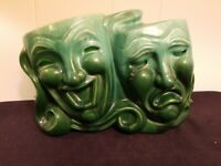 Vintage Royal Haeger Pottery Comedy Tragedy Tv Lamp Green Agate Tri-Wonder