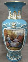 Blue RK Dresden Germany Vase With Antique Family Painting Ceramic Glazed