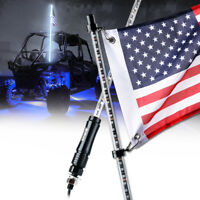 Xprite 5ft White LED Whip Lights USA Flag Pole Antenna for UTV ATV Polaris RZR