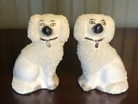 """Adorable Antique Set Staffordshire Crushed Confetti Spaniel Pair Dogs 4""""Statues"""