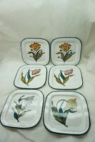 GRAZIA DERUTA POTTERY PLATES ITALY HAND PAINTED FLOWERS SALAD 7.5in SET OF 6 d