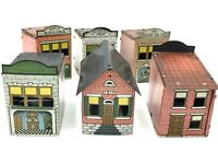 Vintage Antique Westmoreland Tin Litho Candy Container 7 Buildings *1010