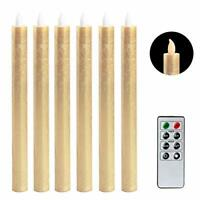 Eldnacele LED Taper Candles Flameless Flickering Battery Operated Window (Gold)