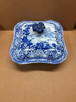 Antique Blue Transferware Square Serving Bowl c1860 Flowers Warwick Castle