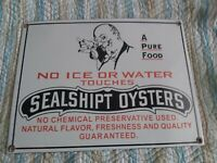 ANTIQUE METAL/ PORCELAIN OYSTER ADVERTISING SIGN GREAT CONDITION