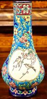 SUPER LONGWY FRANCE ANTIQUE EMAUX BIRDS VASE PERFECT 8.5 INCHES SIGNED