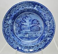 Antique Hall Llanerth Court Dark Blue Staffordshire Transferware Soup Bowl Plate