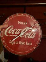 Vintage 1950 DRINK Coca cola Thermometer Soda Pop Advertising MATEL/Glass Sign