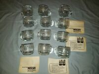 12 Vintage Lot Nestle Nescafe Etched Glass World Globe Coffee Mugs Coffee Cups
