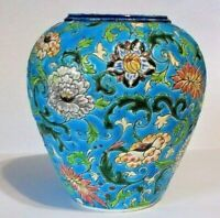 ANTIQUE LONGWY FRENCH CHARMING POTTERY VASE  WITHOUT CHIPS AND MARKED
