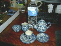 7 pcs Miniature Blue Spongeware by Billy Ray Hussey signed
