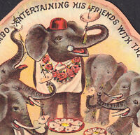 Jumbo Oysters Mallory Arrow Brand Elephant Circus Die-Cut Victorian Trade Card