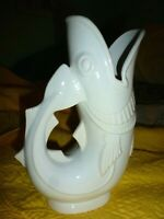 SHREVE Crump and Low Company England  WHITE FISH Pitcher/ Vase large Excellent!